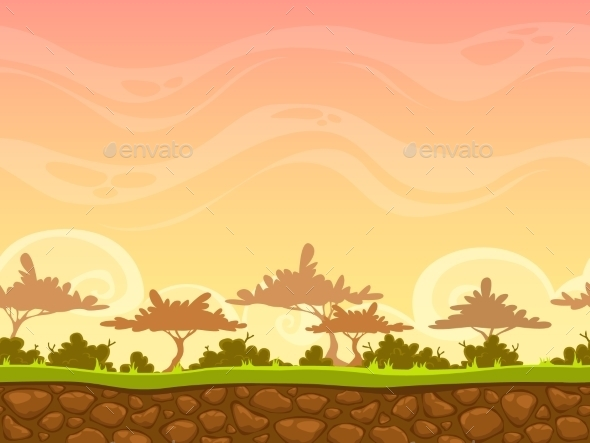 Seamless  Savanna Landscape - Landscapes Nature