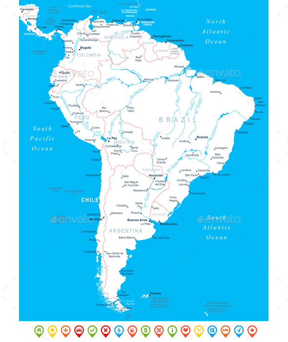 South America - map, navigation icons. - Travel Conceptual