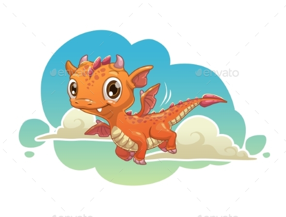 Orange Cartoon Dragon - Monsters Characters