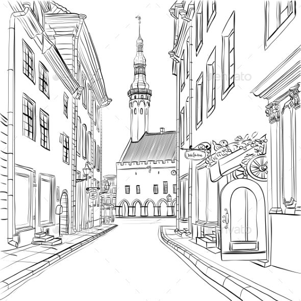 Vector Medieval Old Town, Tallinn, Estonia - Buildings Objects