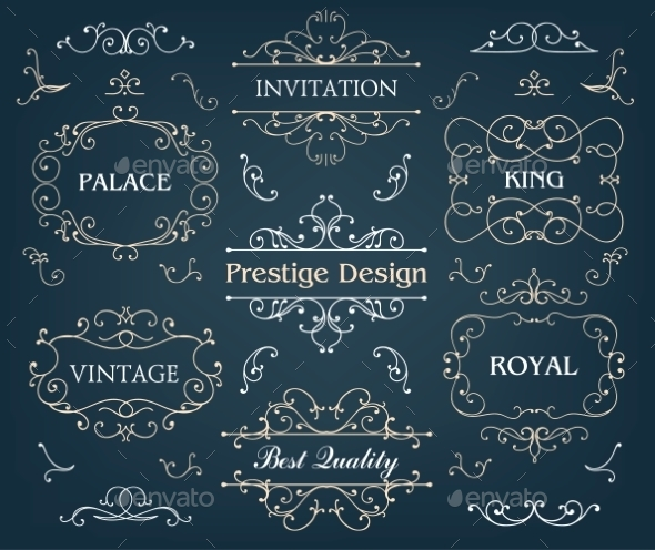 Set of Calligraphic Design Elements Page - Borders Decorative