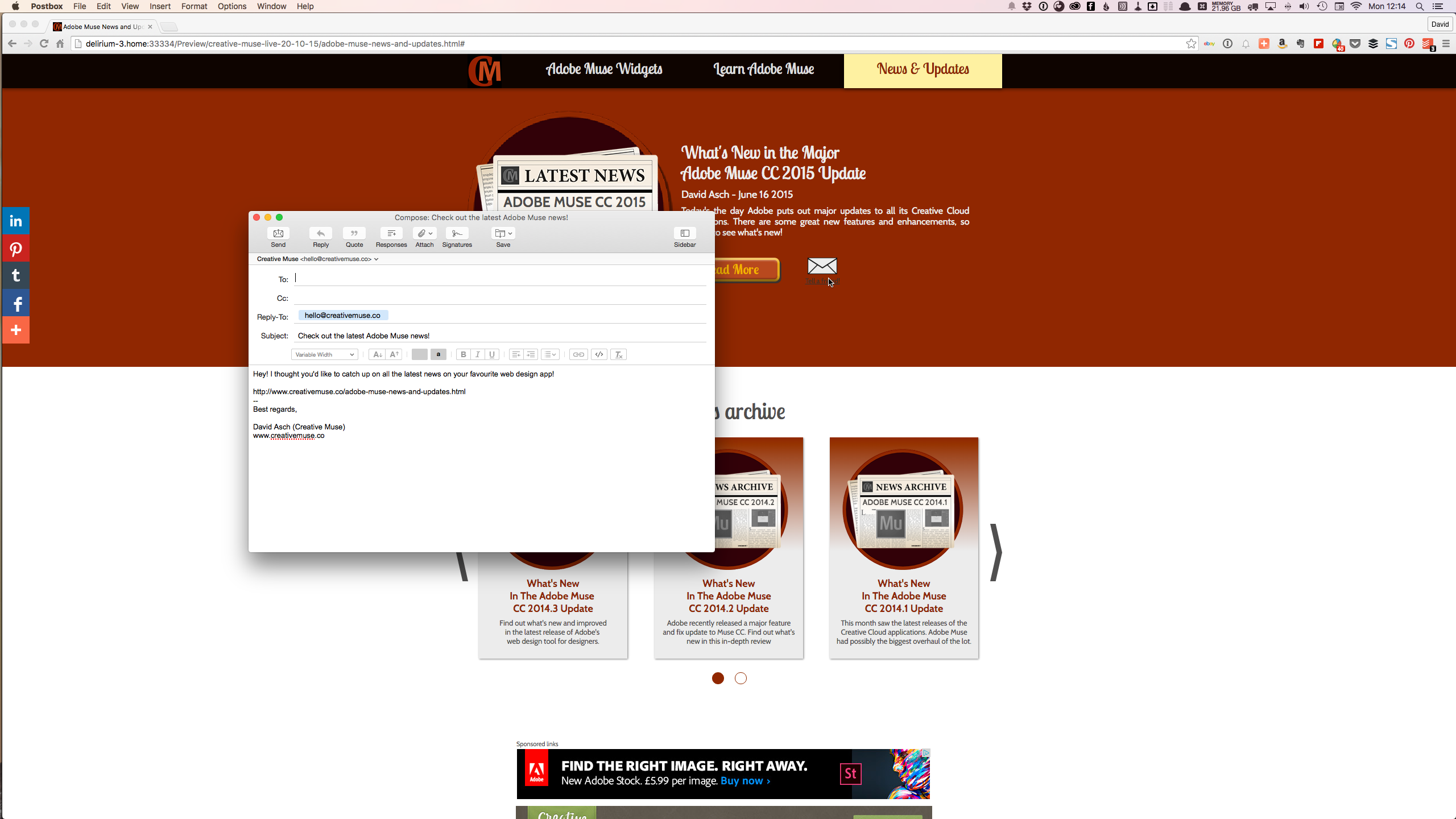 Email This Page Widget for Adobe Muse