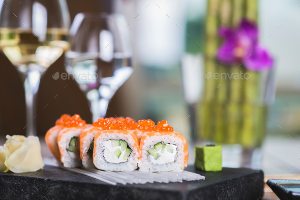 Roll set served on a plate - Stock Photo - Images