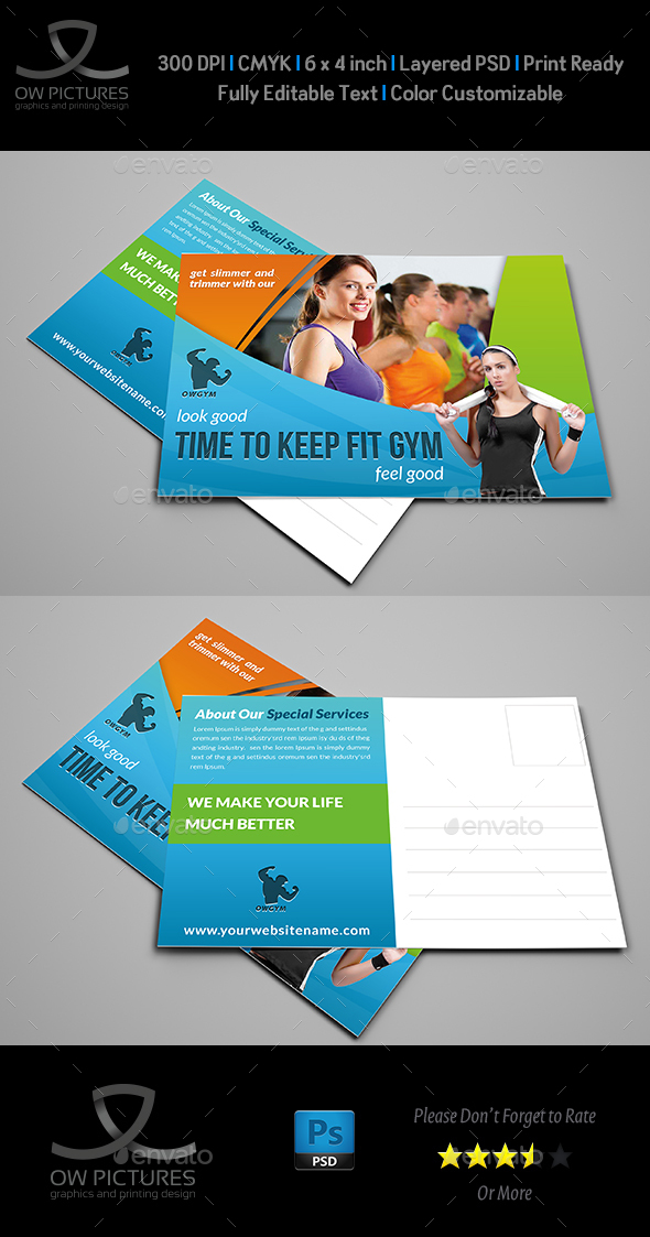 Fitness GYM Postcard Template Vol.2 - Cards & Invites Print Templates