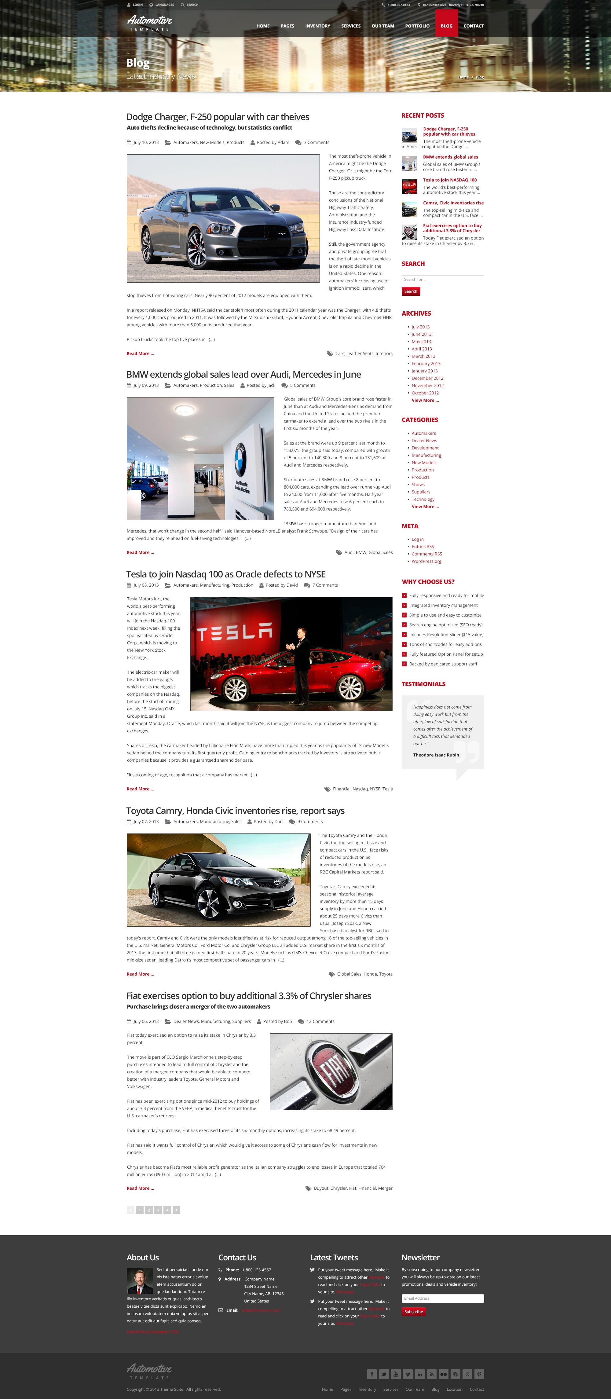 Automotive Car Dealership Business WordPress Theme by themesuite ...