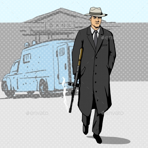 Gangster With Gun Walking From Bank Pop Art Vector - Backgrounds Decorative
