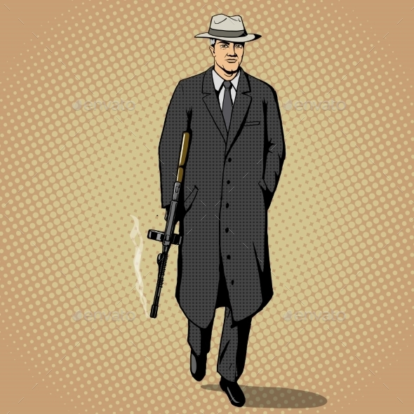 Gangster With Gun Walking Pop Art Style Vector - Backgrounds Decorative
