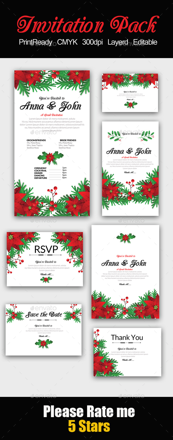 Floral Invitation Pack - Cards & Invites Print Templates