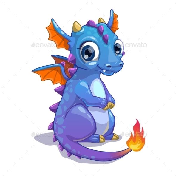 Cute Blue Cartoon Dragon - Monsters Characters