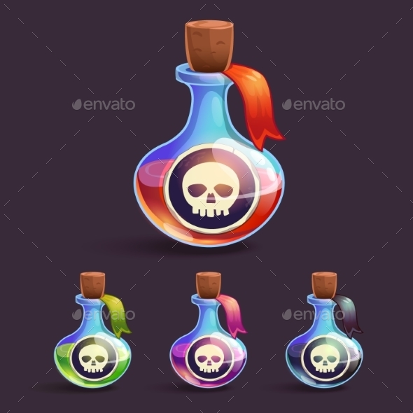 Cartoon Bottles with Poison - Halloween Seasons/Holidays