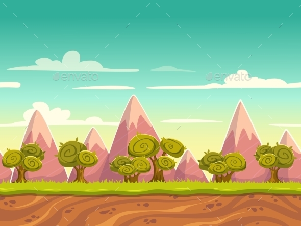 Seamless Cartoon Nature Landscape - Landscapes Nature
