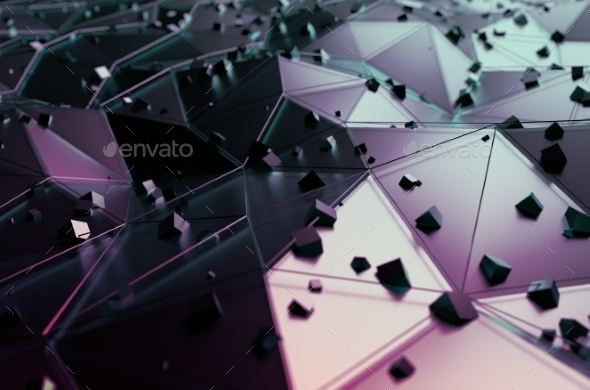 Abstract Rendering Of Surface With Random Cubes. - Abstract 3D Renders