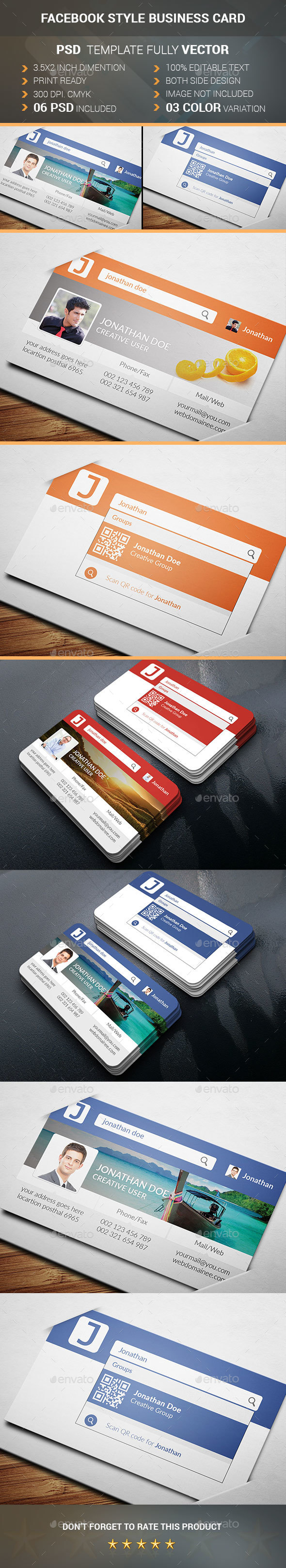 Facebook Style Business Card - Business Cards Print Templates