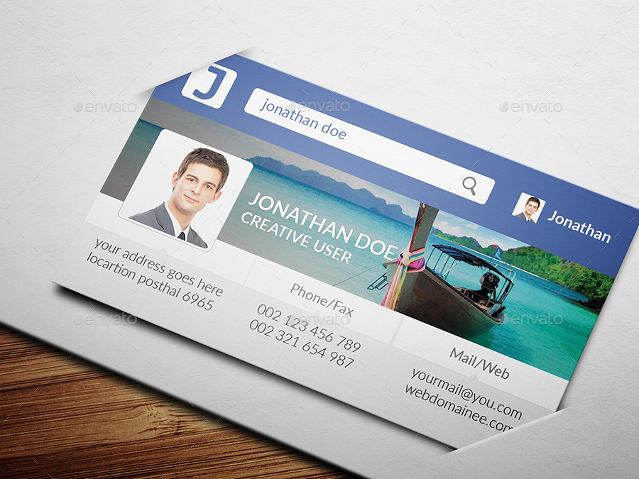 Facebook Style Business Card by pixelpoint | GraphicRiver