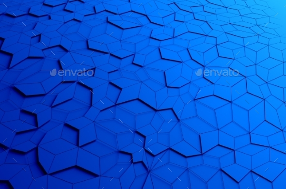 Abstract 3D Rendering Of Blue Futuristic Surface. - 3D Backgrounds