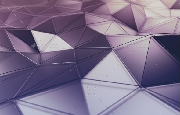 Abstract 3D Rendering Of Polygonal Surface. - Abstract 3D Renders