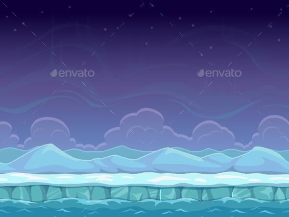 Seamless Cartoon Arctic Landscape - Landscapes Nature