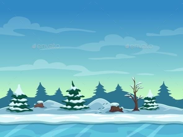 Seamless Cartoon Winter Landscape - Landscapes Nature