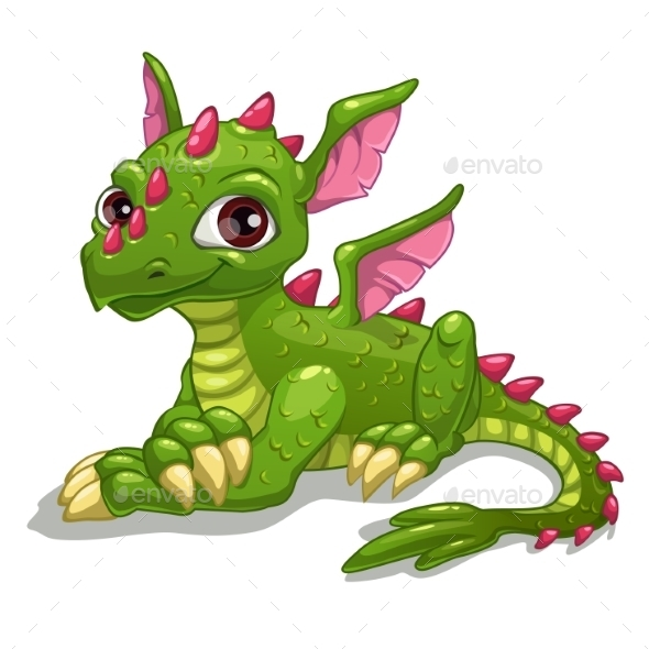 Cartoon Green Dragon - Monsters Characters