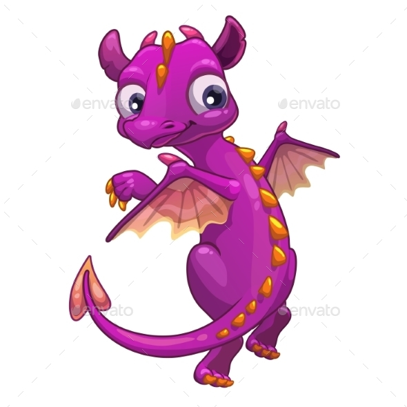 Little Pink Cartoon Dragon - Monsters Characters