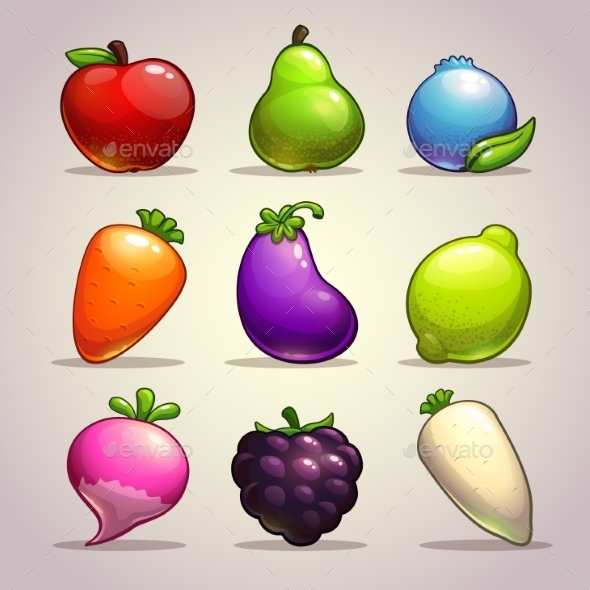 Set of Cartoon Fruits - Food Objects