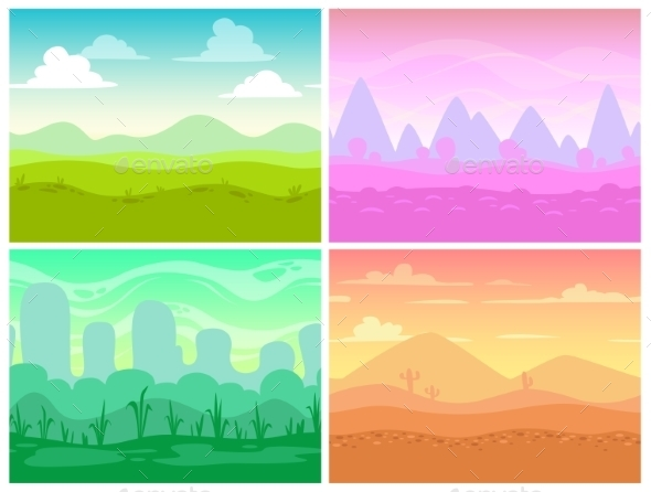 Set of Seamless Cartoon Landscapes - Landscapes Nature