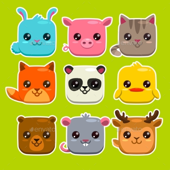 Square Animals Set - Animals Characters
