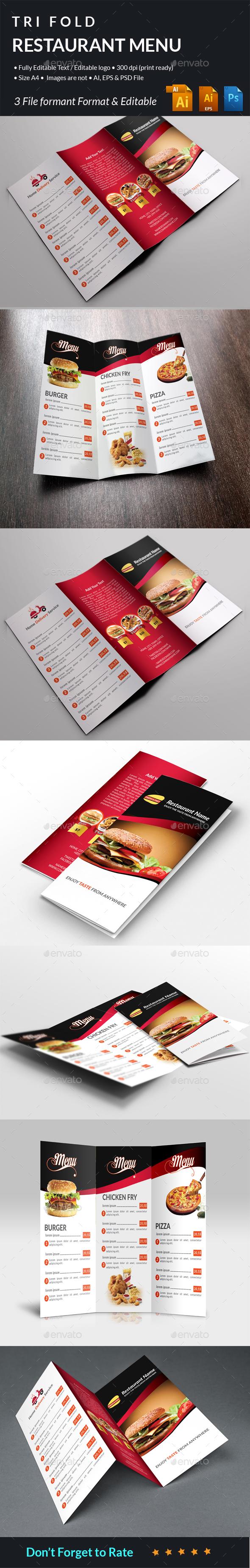 Restaurant Food Menu Tri Fold - Food Menus Print Templates