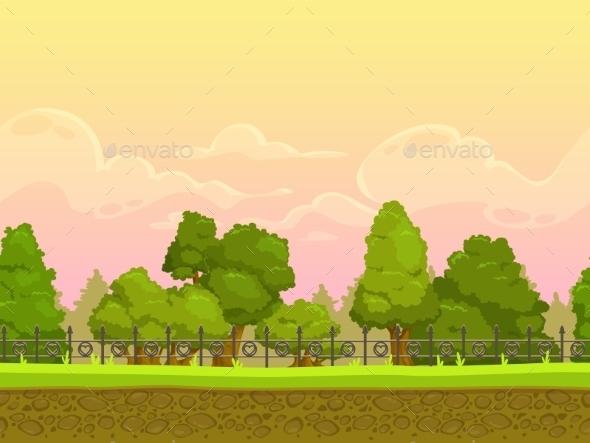 Seamless Cartoon Park Landscape - Landscapes Nature