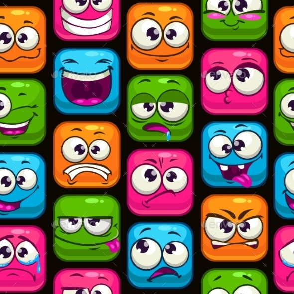 Seamless Pattern with Cartoon Colorful Faces - Backgrounds Decorative