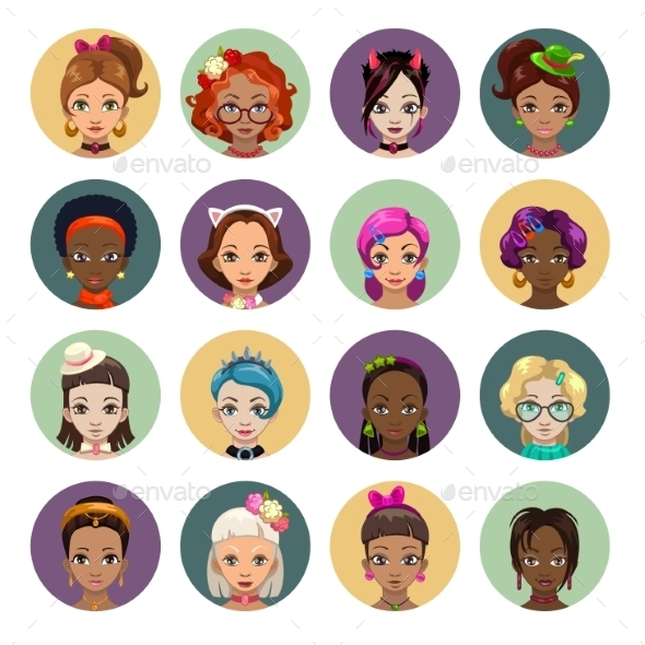 Cartoon Girls Avatars - People Characters