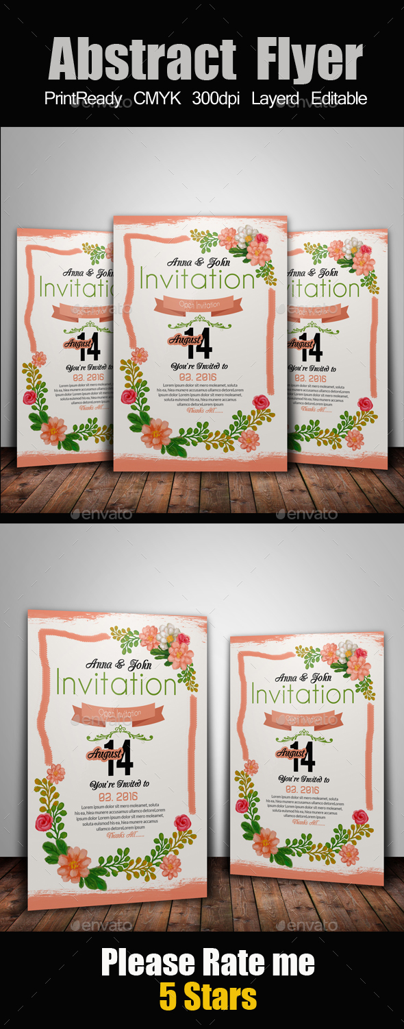 Creative Floral Invitation Card - Cards & Invites Print Templates