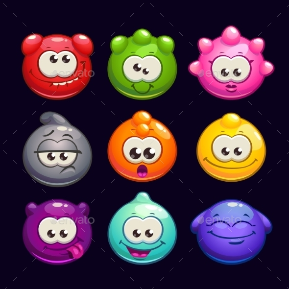 Cartoon Jelly Round Characters Set - Web Technology