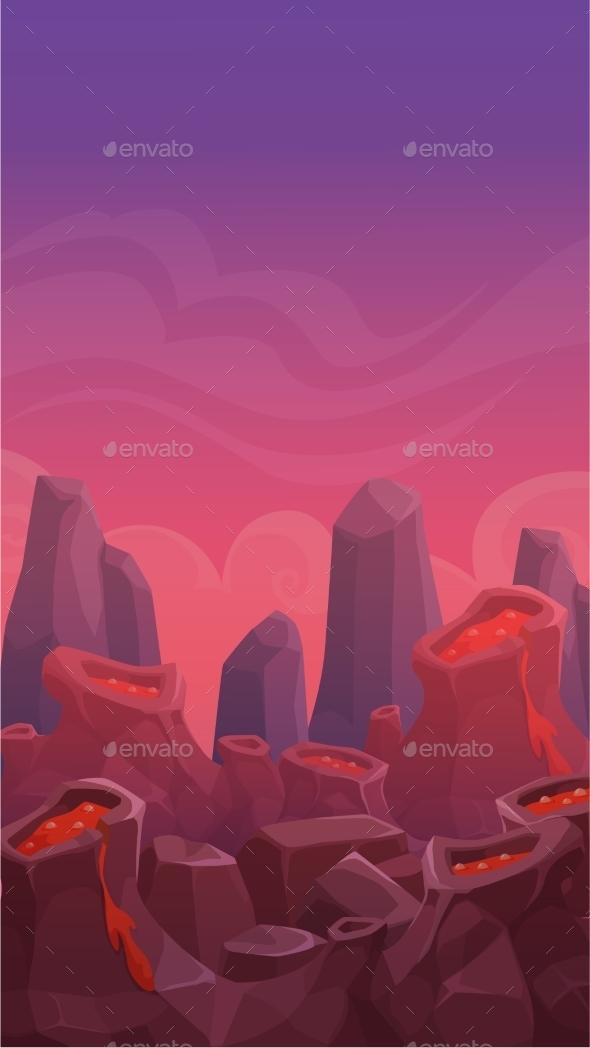 Cartoon Vertical Volcano Landscape - Landscapes Nature