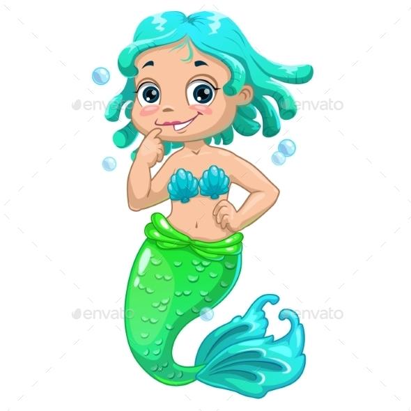 Cartoon Mermaid Blue Hair - Backgrounds Decorative