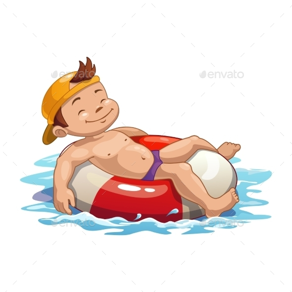 Swimming Boy - Backgrounds Decorative