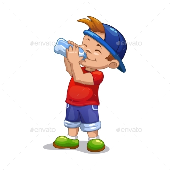 Little Boy Drinks Water - Sports/Activity Conceptual