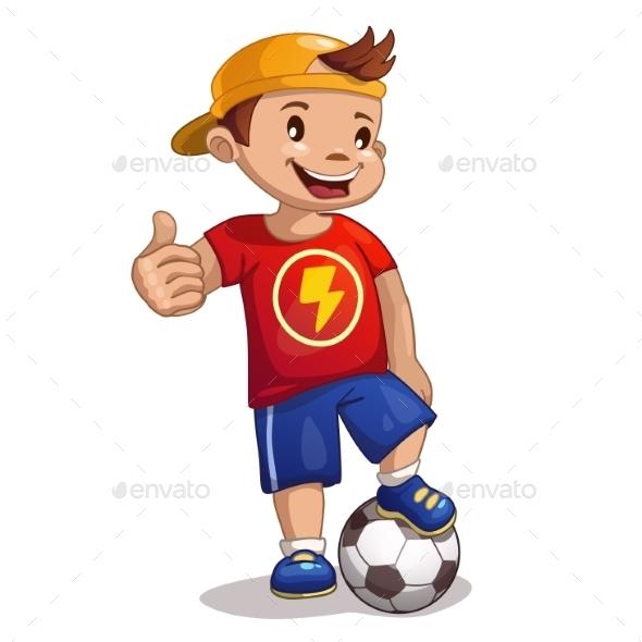 Little Cartoon Boy with Ball - Sports/Activity Conceptual