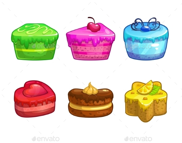Set of Colorful Sweet Cakes - Birthdays Seasons/Holidays