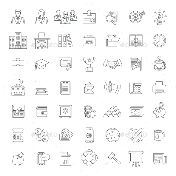 Flat Thin Line Business and Financial Icons - Business Icons