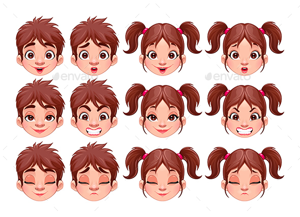 Different Expressions of Boy and Girl - People Characters