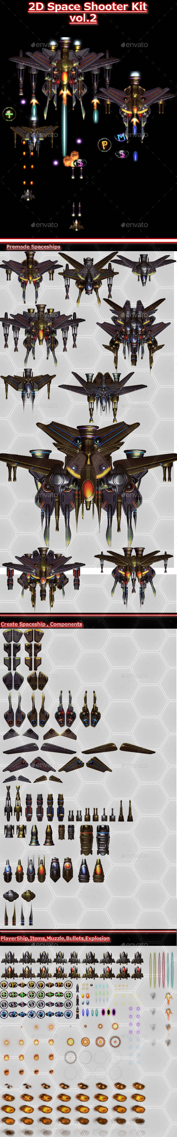 2D Space Shooter vol.2 - Sprites Game Assets