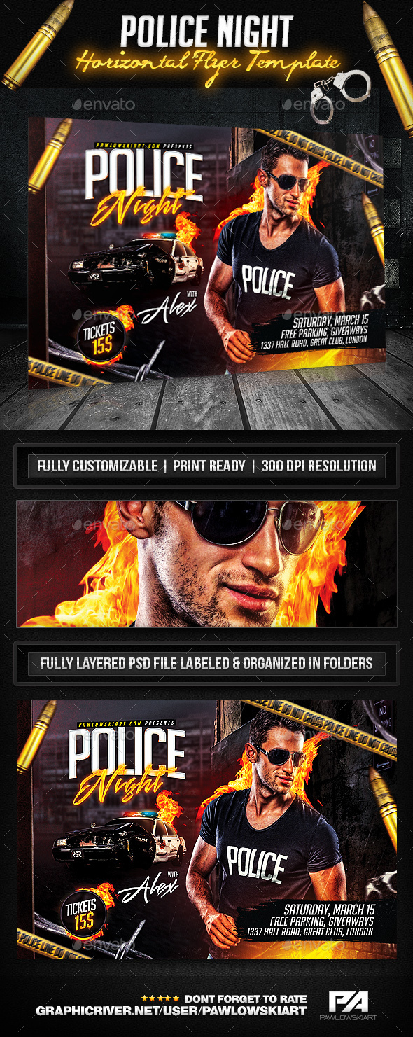 Police Night Party Horizontal Flyer Template  - Clubs & Parties Events