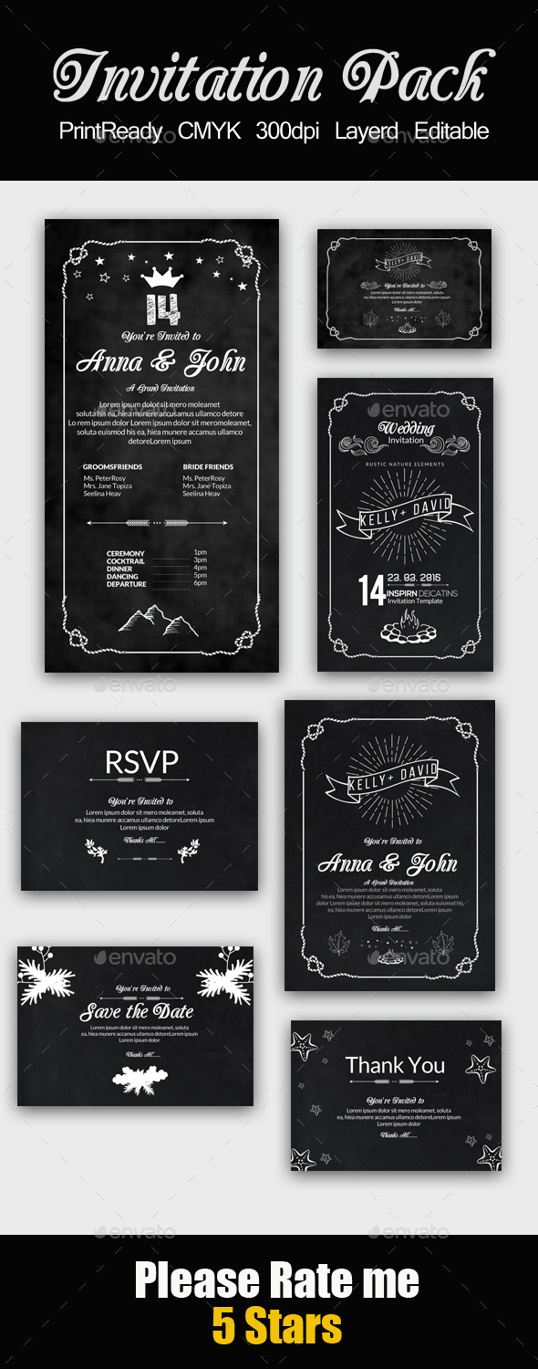 Chalk Board Invitation Pack - Cards & Invites Print Templates