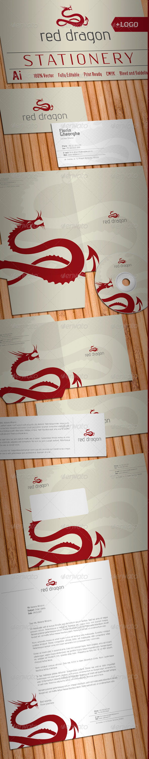 Red Dragon Stationery - Stationery Print Templates