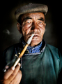 Mongolian Traditional Dress Smoking Pipe Solitude Concept - PhotoDune Item for Sale