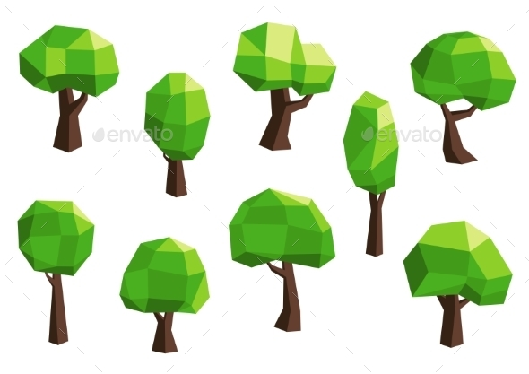 Green Abstract Polygonal Tree Icons - Flowers & Plants Nature