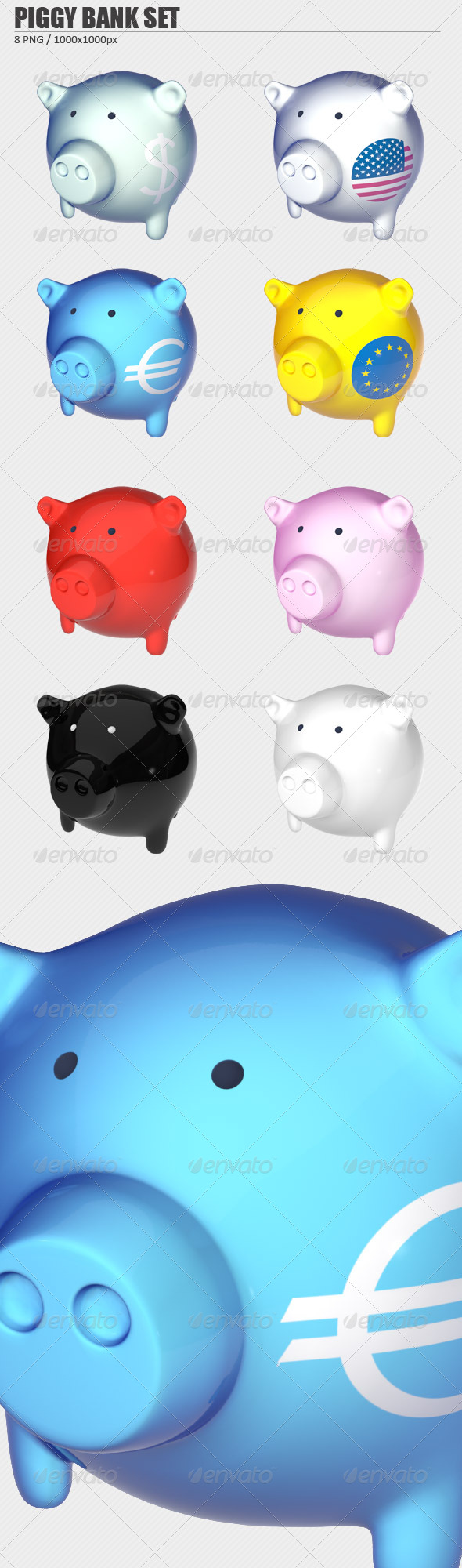 Piggy Bank PNG Set - 3D Renders Graphics