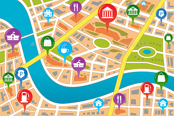 Map of a City in GPS style - Objects Vectors