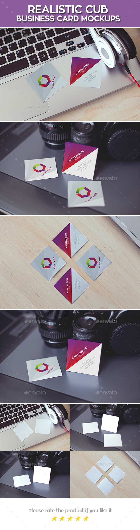 Realistic Cub Business Card Mockups - Business Cards Print